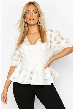 White Plus Check Chiffon Wrap Peplum Top