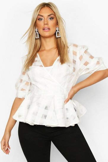 Womens White Plus Check Chiffon Wrap Peplum Top
