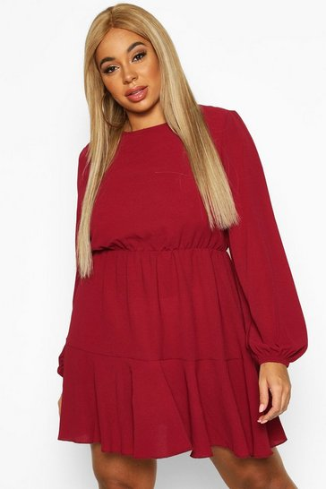 Berry Plus Long Sleeved Tiered Woven Smock Dress