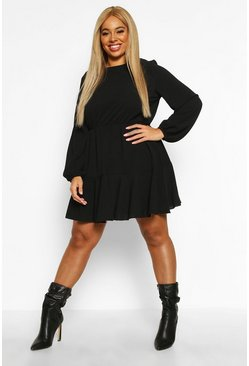 Womens Black Plus Long Sleeved Tiered Woven Smock Dress