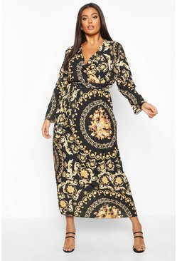 Black Plus Chain Print Wrap Tie Maxi Dress