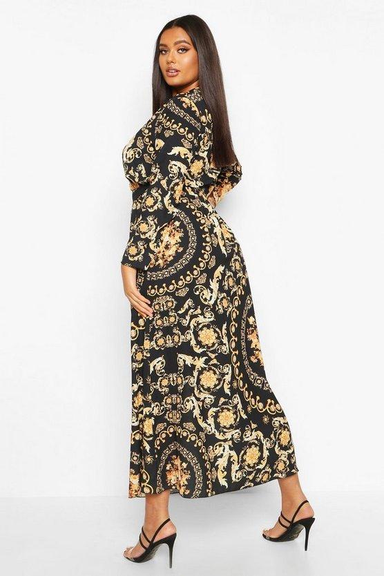 Plus Chain Print Wrap Tie Maxi Dress
