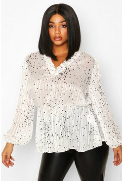 Womens White Plus Metallic Polka Dot Peplum Blouse