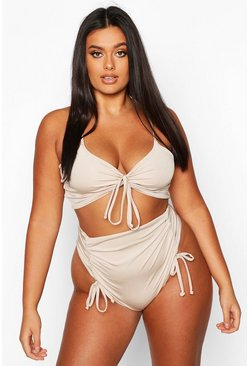 Womens Stone Plus Ruched Detail High Waist Bikini