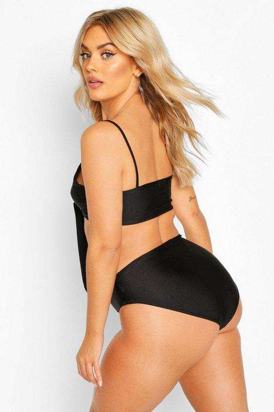 Plus Tie Front High Waist Triangle Bikini