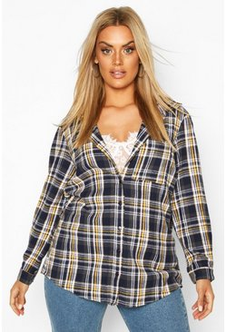 Blue Plus Check Oversized Shirt