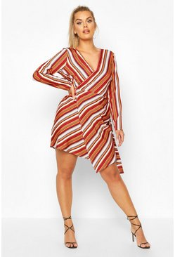 Wine Plus Multi Stripe Wrap Dress