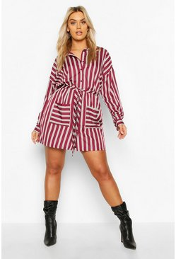Berry Plus Stripe Self Belt Shirt Dress