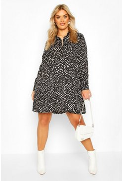 Black Plus Polka Dot Shirt Smock Dress