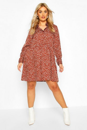 Chocolate Plus Polka Dot Shirt Smock Dress