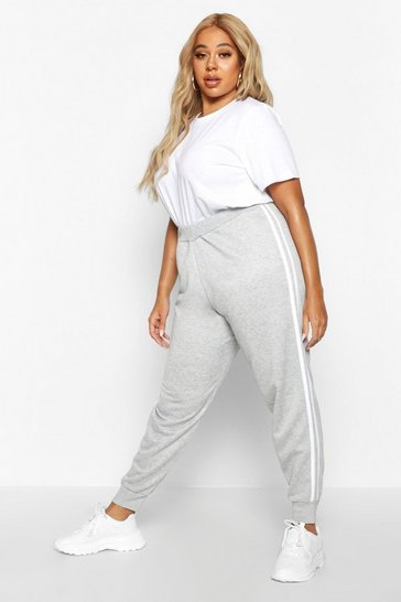 Womens Grey Plus Side Stripe Joggers