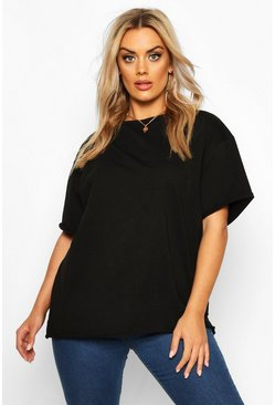 Black Plus Cotton Raw Hem Boxy T-shirt