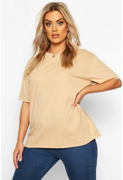 Womens Camel Plus Cotton Raw Hem Boxy T-shirt