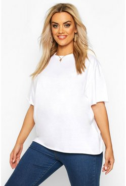 White Plus Cotton Raw Hem Boxy T-shirt