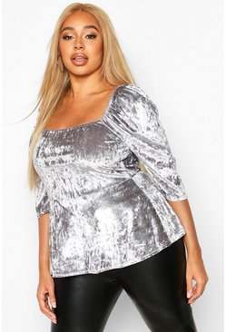 Womens Grey Plus Velvet Sqaure Neck Puff Sleeve Peplum Top