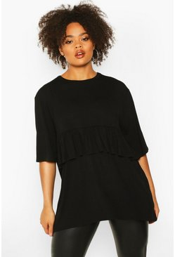 Womens Black Plus Ruffle Detail Smock Top