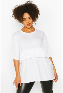 Womens White Plus Ruffle Detail Smock Top