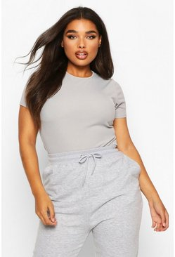 Womens Grey Plus Rib Cap Sleeve Bodysuit