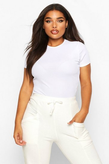White Plus Rib Cap Sleeve Bodysuit