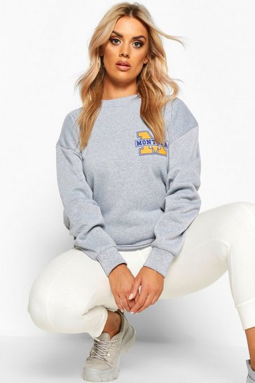 Womens Grey Plus Montana Slogan Oversized Sweat