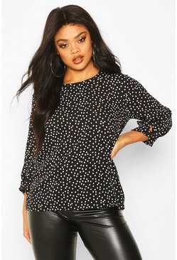 Black Plus Polka Dot Cuff Detail Blouse