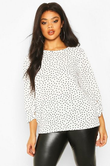Womens White Plus Polka Dot Cuff Detail Blouse