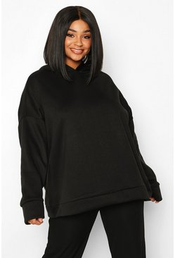 Plus - Sweat à capuche oversize ultra doux, Noir