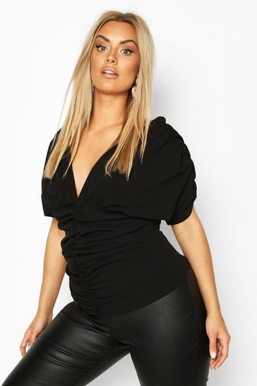 Black Plus Ruched Plunge Top