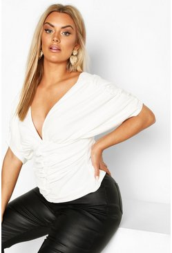 Womens White Plus Ruched Plunge Top