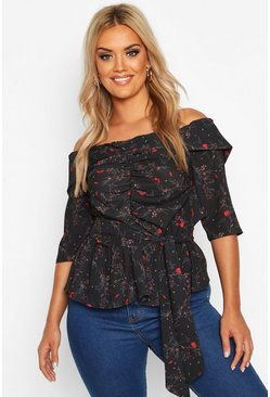 Black Plus Off The Shoulder Ruched Belted Floral Top