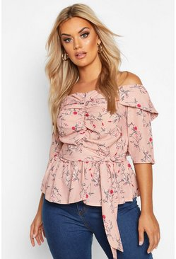 Womens Blush Plus Off The Shoulder Ruched Belted Floral Top