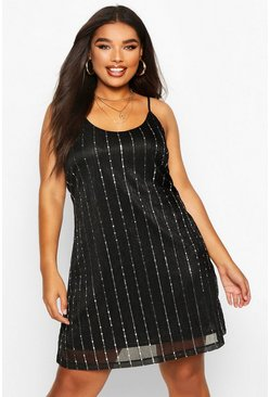 Womens Black Plus Sequin Stripe Cami Dress