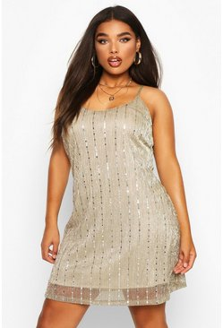 Silver grey Plus Sequin Stripe Cami Dress