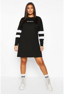Womens Black Plus Stripe Sleeve Basic T-shirt Dress