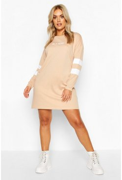 Stone Plus Stripe Sleeve Basic T-shirt Dress