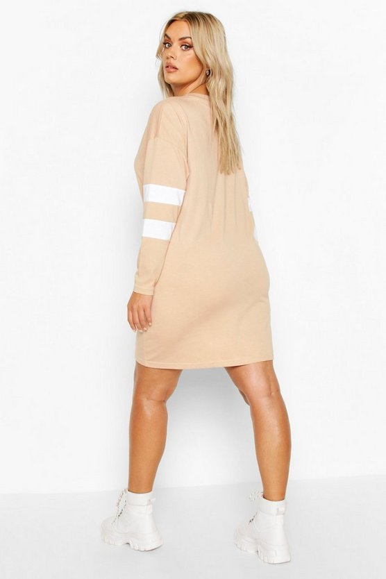 Plus Stripe Sleeve Basic T-shirt Dress