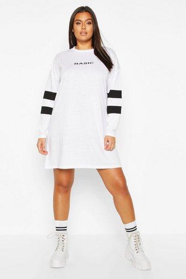 Womens White Plus Stripe Sleeve Basic T-shirt Dress