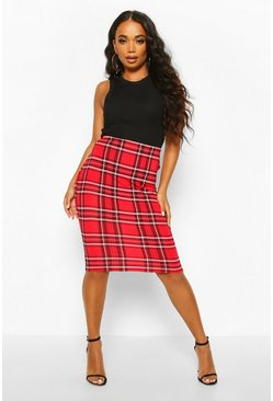Womens Red Petite Tartan Midi Skirt