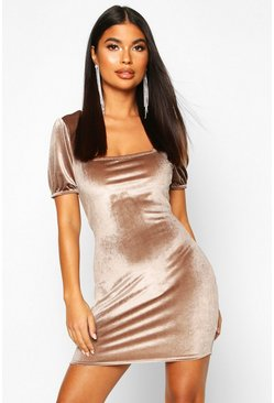 Womens Champagne Petite Velvet Puff Sleeve Bodycon Dress