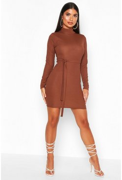 Womens Chocolate Petite Roll Neck Belted Rib Dress