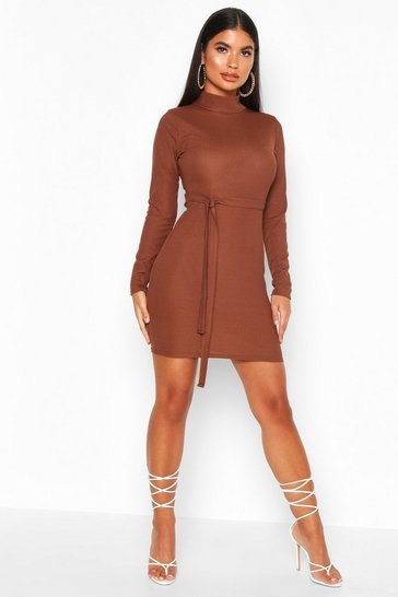 Chocolate Petite Roll Neck Belted Rib Dress