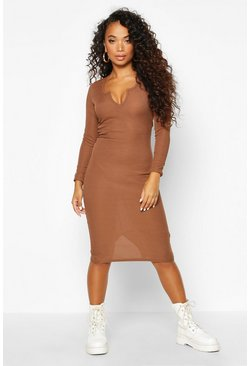 Womens Chocolate Petite Notch Neck Long Sleeve Rib Midi Dress