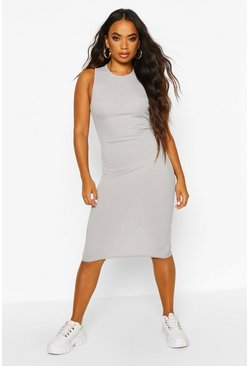 Slate Petite Racer Back Rib Midi Dress