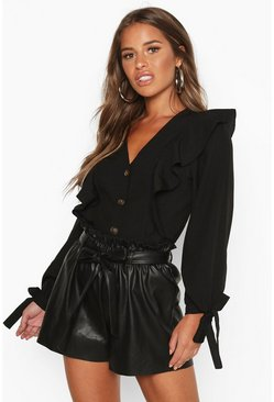 Womens Black Petite Button Up Frill Blouse