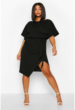 Womens Black Plus Double Layer Midi Dress