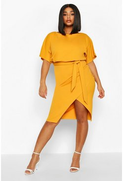 Womens Mustard Plus Double Layer Midi Dress