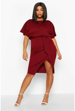 Womens Wine Plus Double Layer Midi Dress