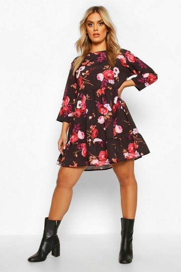 Womens Black Plus Floral Ruffle Hem Smock Dress