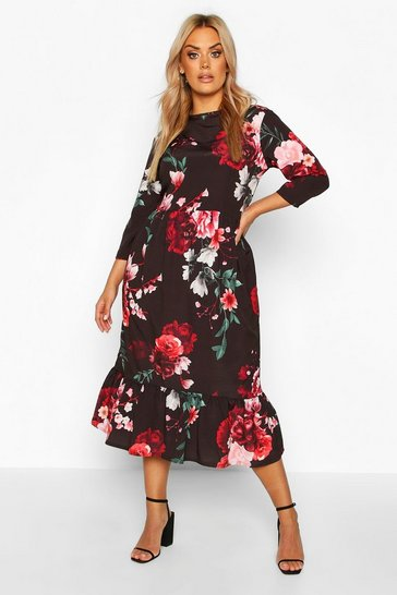 Womens Black Plus Floral Ruffle Hem Midi Dress