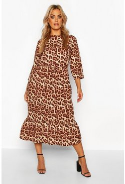 Womens Brown Plus Leopard Ruffle Hem Midi Dress